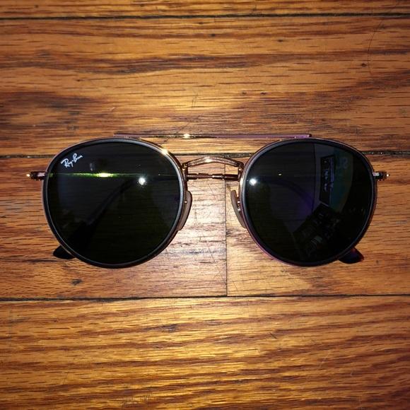 Ray Ban Round Double Bridge Sunglasses with Case